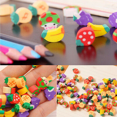 50PCS Novelty Mini Fruit Rubber Pencil Eraser For Kid Cute Stationery Gift