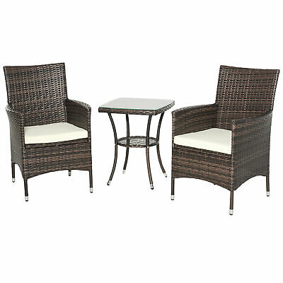 Outsunny 3PC Rattan Furniture Bistro Set Garden Chair Table Home Outdoor Wicker