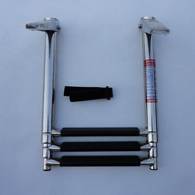 Perfect 3 Step Stainless Steel Telescoping Marine Boat Ladder Upper Platform