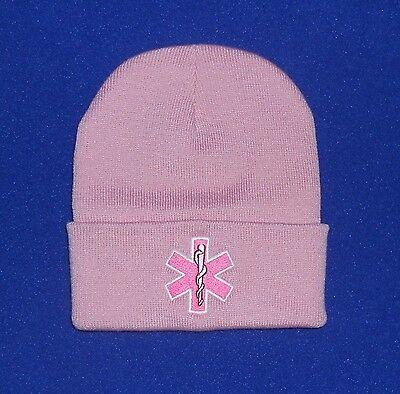 Star of Life Pink embroidered EMS EMT women's Stocking cap, Beanie, Pink hat