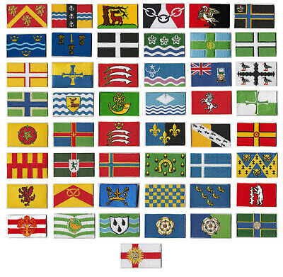 UK County Flag Embroidered Patch Badge style T4.  Sew / iron on, 6 x 3.5cm.