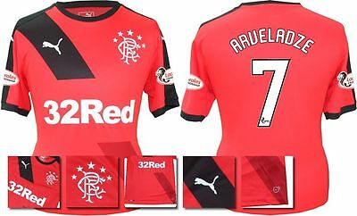 *15 / 16 - Puma ; Rangers Away Shirt Ss + Patches / Arveladze 7 = Size*