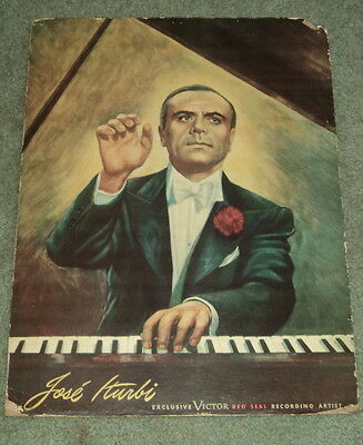 1945 RCA Victor CLASSICAL PIANIST JOSE ITURBI COLOR POSTER - Movies, Pilot, &c.
