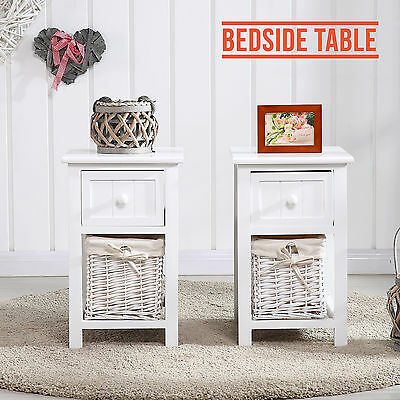 PAIR of White Wooden Shabby Chic Storage Bedside Table Units W/ Wicker Cabinet