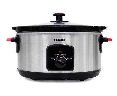 TODO 5.5L STAINLESS STEEL SLOW COOKER w/ REMOVEABLE CERAMIC BOWL XJ-13220