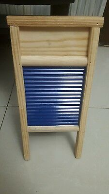 New Mini Washboard Galvanized Wood And Metal Color Blue 7 Inch W