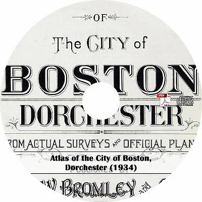 1934 Atlas of Dorchester, Boston, Massachusetts ~ History Maps Book on CD