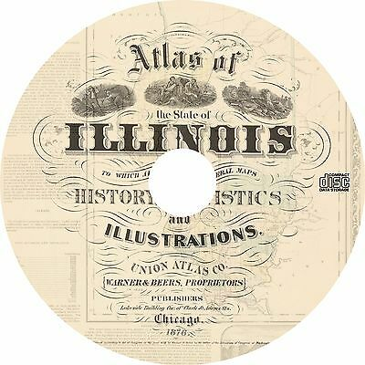 Warner & Beers Atlas of the State of Illinois {1876} IL Maps Book on CD