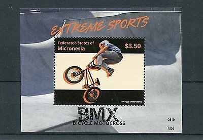 Micronesia 2015 MNH Extreme Sports BMX Bicycle Motocross 1v S/S Bicycles Stamps