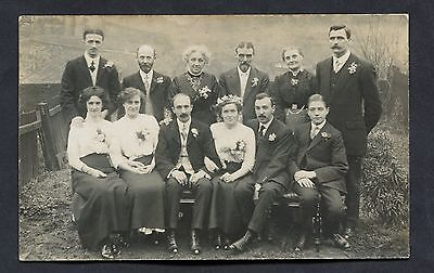 C1920's Photo Card - Bride & Groom with Wedding Guests/Family.