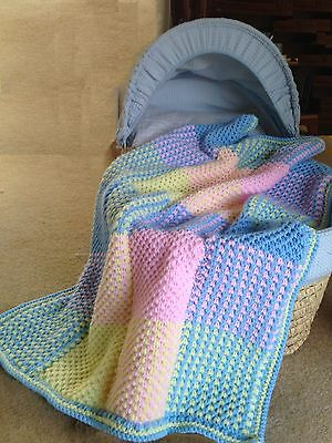 Baby Blanket Cot Cover Colourful Squares Knitting Pattern Aran