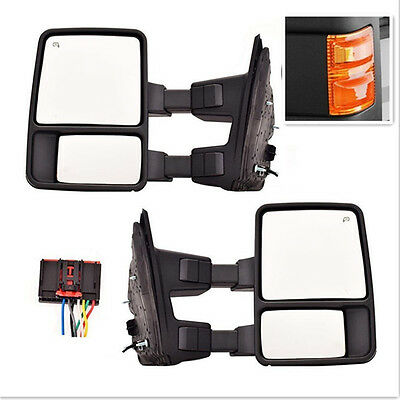 For 08-16 Ford Super Duty Side Mirror Power Heated Orange Signal Towing Pair