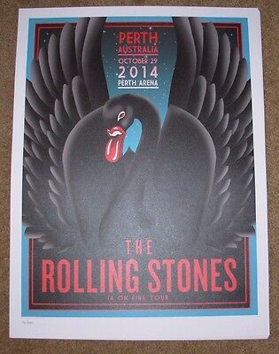 ROLLING STONES concert poster print PERTH 10-29-14 2014 Lithograph ON FIRE