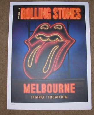 ROLLING STONES concert poster print MELBOURNE 11-5-14 2014 Lithograph ON FIRE