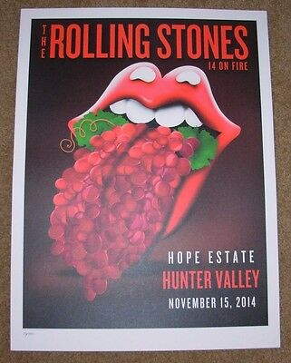 ROLLING STONES concert poster HUNTER VALLEY 11-15-14 2014 Lithograph ON FIRE