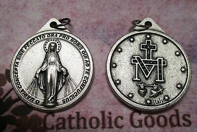 Large Round Miraculous Medal in Latin  - Oxidized  Italian 1 1/8 inch Medal
