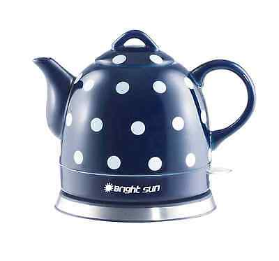 Teapot Ceramic Electric Kettle Warm Plate, Blue Polka Dot Decor, Gift, New,13582