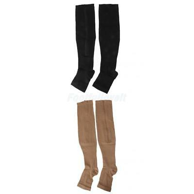Varicose Veins Zip COMPRESSION SOCKS Leg Supports Stockings Knee High Open Toe
