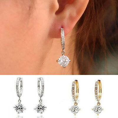 New Women Silver/Gold Plated Crystal Rhinestone Studs Earrings Hoop Jewelry