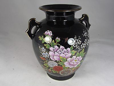 Vintage Japan Stunning Porcelain Table Vase Midnight Black And Floral Excellent