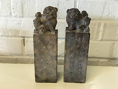 Antique Chinese Pair of Soapstone Chop Seals w/ Foo Dog Decoration on Top