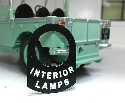 Land Rover Series 1 2 2a 3 Metal Switch Tab Label Badge Interior Lights Courtesy