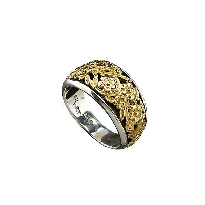 Gerochristo: Silver and 18k Solid Gold Handmade Byzantine Flowers Band Ring