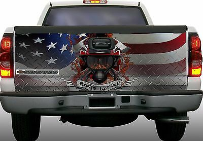 American flag diamond plate firefighter truck tailgate vinyl graphic decal wraps