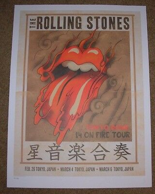 ROLLING STONES concert poster print TOKYO JAPAN 3-4-14 2014 Lithograph ON FIRE
