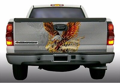 Firefighter eagle diamond plate truck tailgate vinyl graphic decal wraps