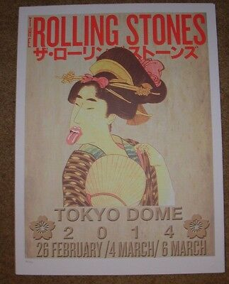 ROLLING STONES concert poster print TOKYO JAPAN Feb Mar 2014 Lithograph ON FIRE