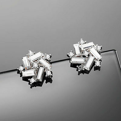 Elegant Rhinestone Windmill Ear Stud Fashion 925 Silver Plated Crystal Earrings