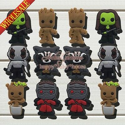 New 100Pcs Guardians of the Galaxy PVC Shoe Charms Accessories For JIBZ Braclets