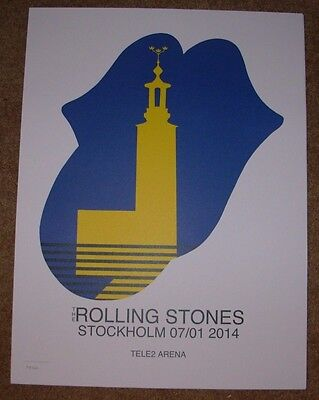 ROLLING STONES concert poster print STOCKHOLM 7-1-14 2014 Lithograph ON FIRE