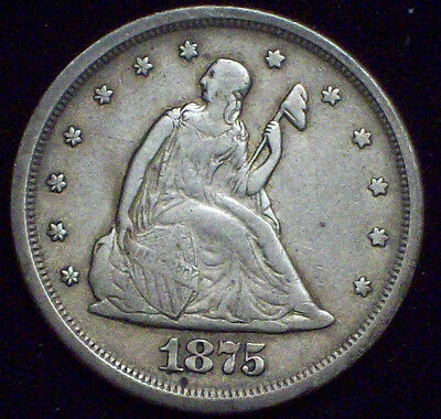 1875 S 20 Twenty Cent Piece SILVER Seated Liberty RARE VF+ Detailing - Authentic