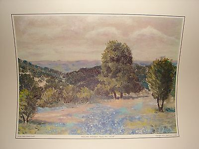 """""""Rolling Wooded Hills"""" Art Print by Dwight D. Eisenhower c. 1970 College Reprint"""