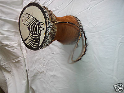 Musical Drum Authentic Vintage African Kenyan Percussion Wood Bulls Leather