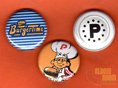 """Set of three 1"""" Burgertime pins buttons arcade Bally Midway pepper video game"""