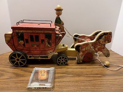 Vintage 1954 Fisher Price #175 Gold Star Stagecoach Pull Toy w 1 Mail Pouch