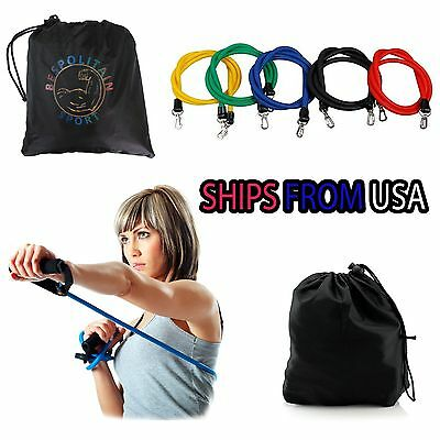 11 PCS Latex Resistance Bands Exercise Set for Yoga ABS  Workout Fitness New