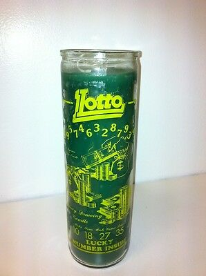 Lucky Lotto Money Drawing 7 Day Unscented Green Candle In Glass