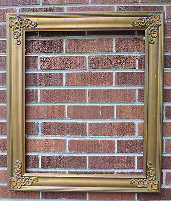 Antique VICTORIAN GOLD Metal FANCY Corners Wood Picture Frame c1900 20 x 24