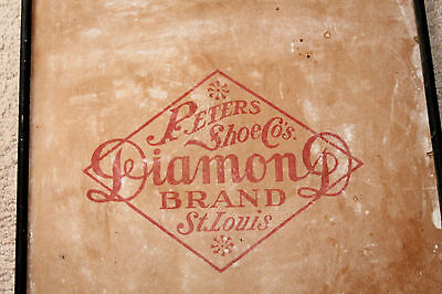 Antique Cardboard Peters Shoe Co's. Diamond Brand St. Louis Sign Advertising