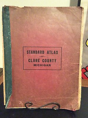 1916 Atlas And Plat Book Clare County Michigan.  Great Colors
