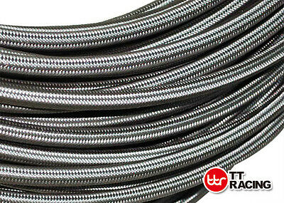 "-4 AN 4 AN4 1/4"" 6mm Braided Stainless Steel Fuel Line Hose 10FT 3M Meters"