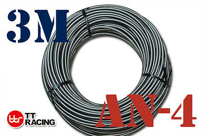 "1/4"" Stainless Steel Braided 1000 Psi -4An An4 4-An Oil Fuel Line Hose 3M"