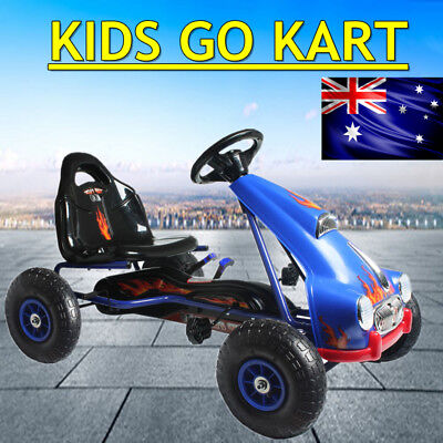 Pedal Powered Go Kart Racing Kids Ride-On Toys New Year Gift Blue With Braking