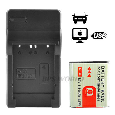New Battery +USB Charger for SONY NP-BG1 NP-FG1 CyberShot DSC-T20 T100 H10 HX5V