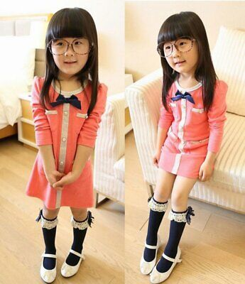 Hot Kid Children Baby Girl Knee High Long Socks Lace Bow Cotton Casual Stockings