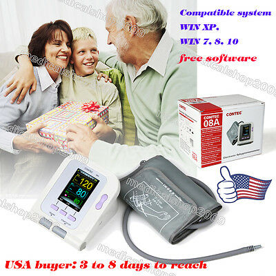 Digital Color LCD CONTEC Blood Presure Monitor with Software.Gifts for parents